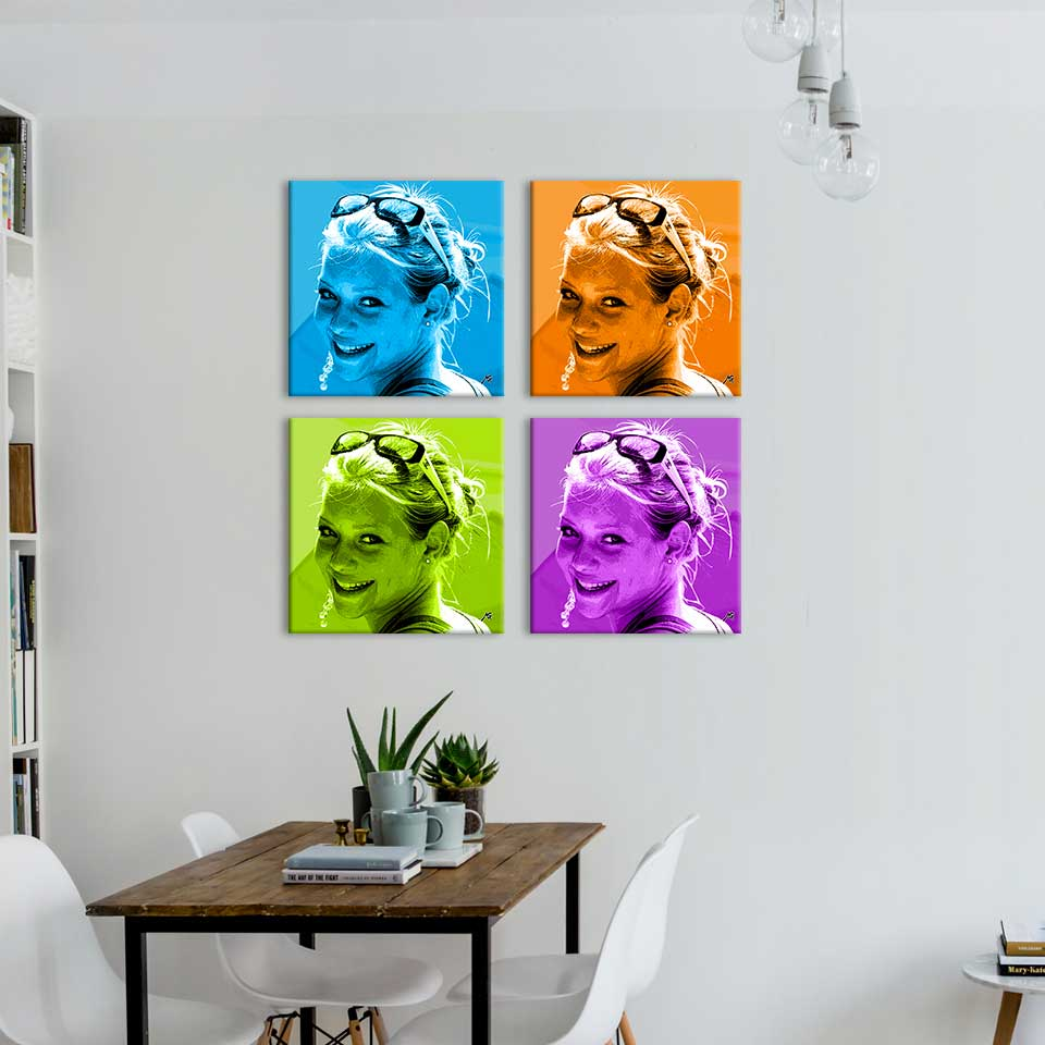 Portrait pop'art quadriptyque bichome une photo